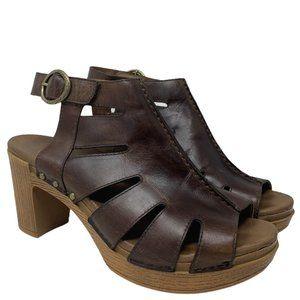 Dansko Demetra Brown Caged Cut-Out Sandal Size 40
